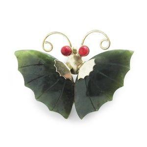 Vintage Jewelry - Vintage Jade Butterfly Brooch, 1960s Asian Jade